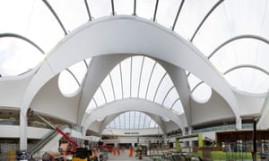 The vast atrium over the passenger concourse at Birmingham New Street station.