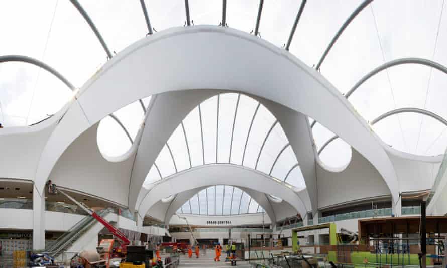 The vast atrium over the passenger concourse at Birmingham New Street station.