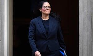 Britain's Home Secretary Priti Patel leaves from 10 Downing Street
