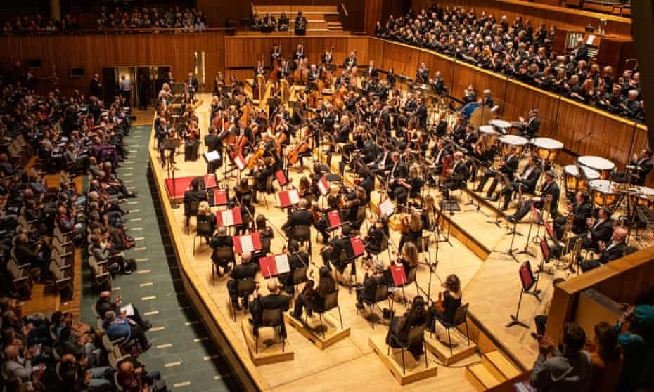A London orchestra - and its six-strong all-male percussion back row - playing at the Royal Festival Hall in February 2020.