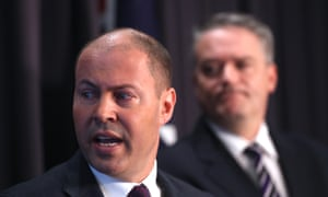 Treasurer Josh Frydenberg and finance minister Mathias Cormann at a press conference briefing on the 2018-19 Mid-Year Economic and Fiscal Outlook (MYEFO) in December 2018. Photograph by Mike Bowers. Guardian Australia
