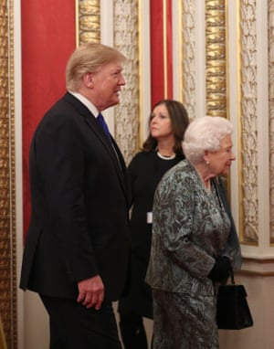 The Queen with Donald Trump at a reception for Nato leaders at Buckingham Palace on Tuesday