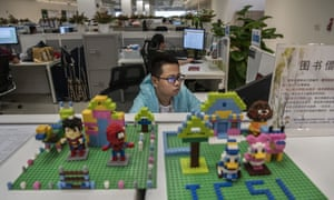 A worker in Huawei's cybersecurity lab