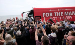 Jeremy Corbyn on the Labour battlebus in Scarborough.