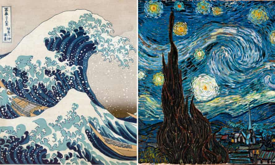 The comparison of Great Wave and Starry Night does not diminish the brilliance of the Van Gogh work, says the writer Martin Bailey.