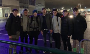 Emiliano Sala (centre) posed with fans outside Cardiff's ground last Friday as the Argentinian prepared to finalise the club's record transfer.