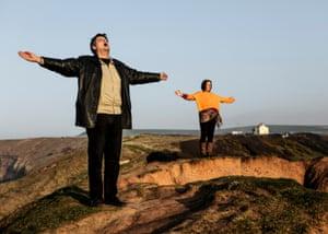David Shayler meditates on a hill outside Middlesbrough