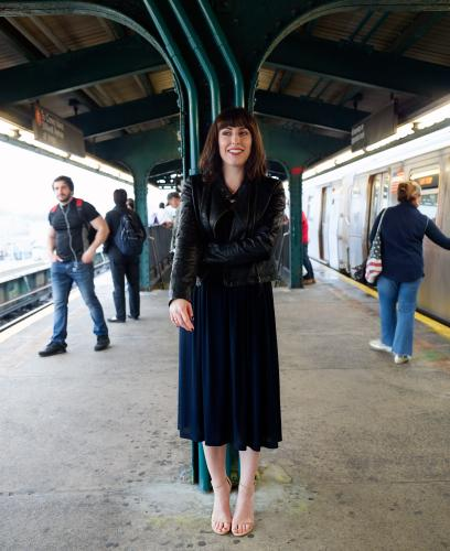 Jessica Valenti on a subway platform