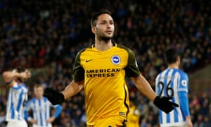 Florin Andone celebrates scoring Brighton's second goal against Huddersfield.