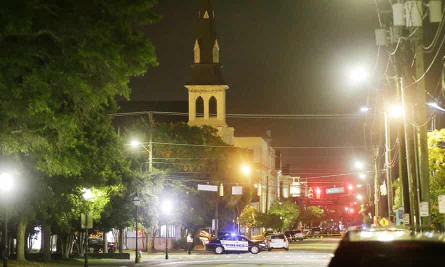 Police close off a section of Calhoun Street following a shooting that killed nine in Charleston.