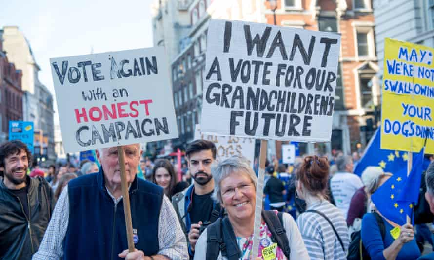 Protesters march through London to demand a people's vote on Brexit on 20 October.