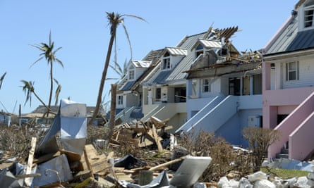 Damaged homes and property in Treasure Cay, on 9 September.