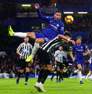 Chelsea's Eden Hazard challenges Newcastle's Ayoze Pérez for a high ball. Hazard has both scored and assisted 10 goals in league games this season - the only other player within the top five European Leagues to have also done so in 2018-19 is Barcelona's Lionel Messi (16 goals, 10 assists).