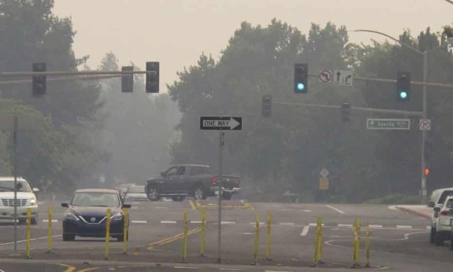 Smoke from California wildfires chokes the skies in neighboring Sparks, Nevada.
