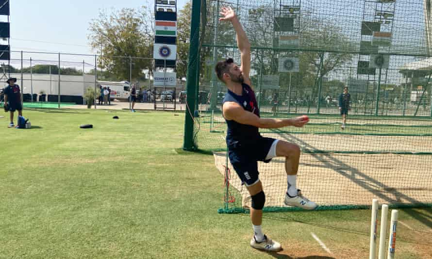 Mark Wood using the pink ball during England's training session at the Sardar Patel Gujarat Stadium in Ahmedabad.