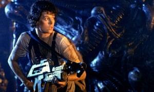 Locked and loaded … Weaver as Ripley in Aliens.