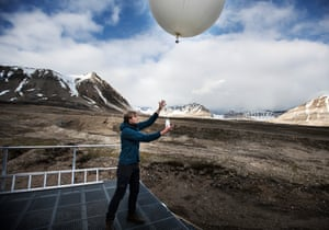 A weather balloon is launched twice a day to the upper atmosphere to take measurements used by many weather stations around the world.