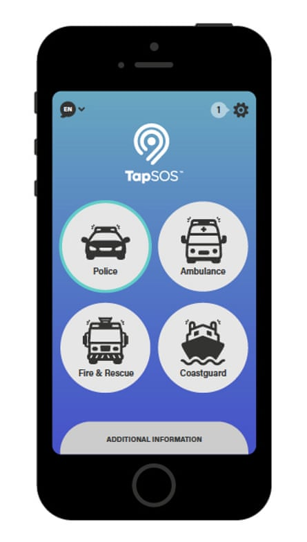 The TapSOS app, designed to help people who can't speak contact the emergency services.