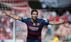 Luis Suarez celebrates after scoring for Barcelona.