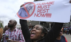 Joyful demonstrators in Harare found a new use for Mugabe portraits on Saturday.