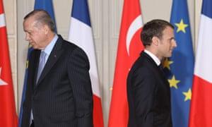 Turkish president, Recep Tayyip Erdoğan, left, and France's Emmanuel Macron.