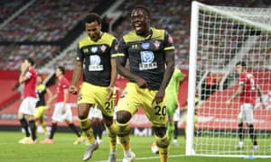 Southampton's Michael Obafemi celebrates equalising deep into added time to keep Manchester United outside the Champiosnb League places with three games to play.