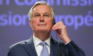 Michel Barnier speaking at his press conference earlier.