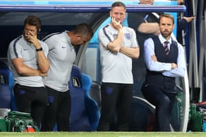 England manager Gareth Southgate and his backroom staff look concerned.
