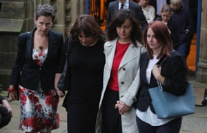 Mary Creagh (left) and Caroline Flint (second right) with mourners at St Peter's church, Birstall.