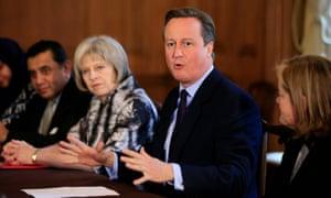 David Cameron with Theresa May.