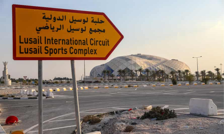 The construction site of the Lusail stadium in Qatar