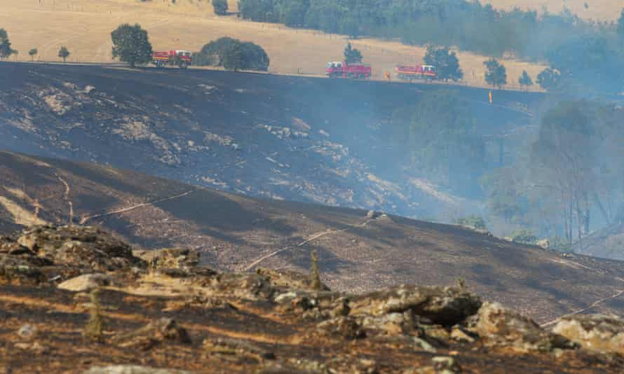 A burnt out area from a bushfire near Scotsburn, Victoria, on Sunday.