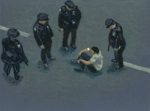 Sit Down Eighth Avenue II, 1990, oil stick on blue paper