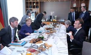 Merkel, May and Macron meet for breakfast at last week's EU summit in Sofia.