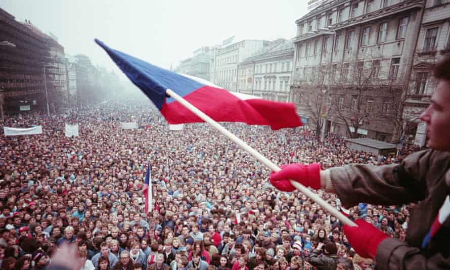 An anti-communist demonstration in Prague in 1989