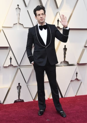 Mark Ronson has long nursed a desire to be a fifties rockn'roll star – complete with quiff, guitar and white T-shirt. He dressed up the look for the Oscars red carpet – with the matinee idol smoking jacket and artfully constructed quiff. The carpet slippers are a masterstroke.