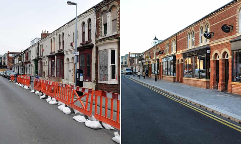 Before and after … Bedford Street, Middlesbrough in 2015 and 2016.
