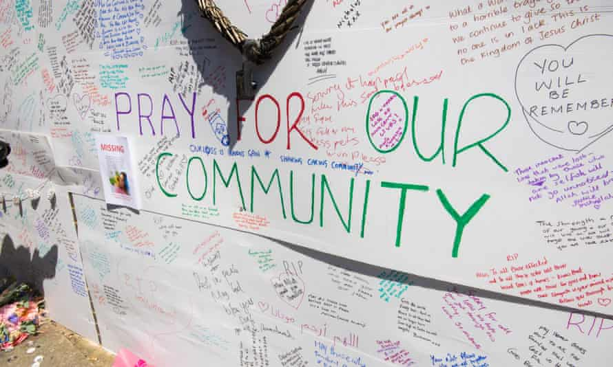 Messages on wall near the Grenfell Tower