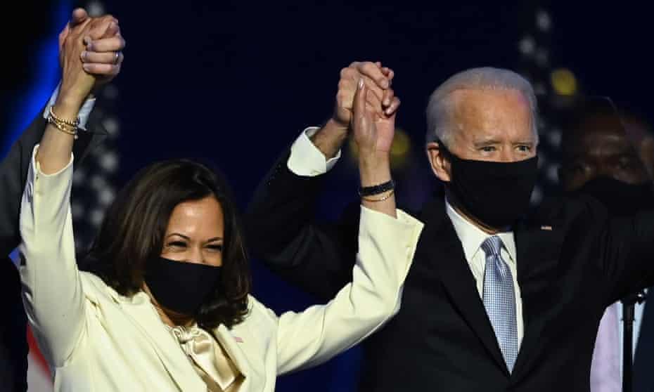 Kamala Harris and Joe Biden celebrate in Wilmington, Delaware, on 7 November after being declared winners of the 2020 election.