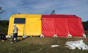 The Women and Children's Centre in the Calais Jungle, designed by Gráinne Hassett, Kris Kelly and Stephen Bourke.