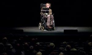 Stephen Hawking gives a talk in Berkeley