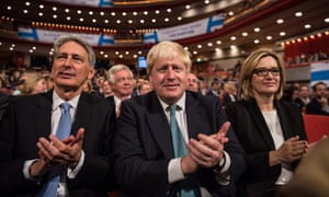 Philip Hammond, Boris Johnson and Amber Rudd at the Conservative party conference.