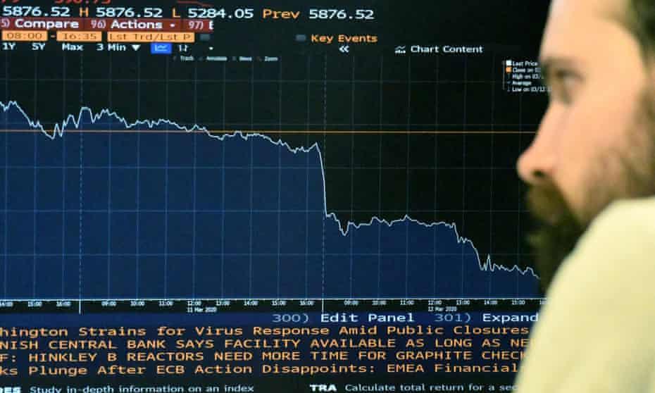 Man looks at screen displaying London Stock Exchange's FTSE 100