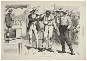 A cartoon depicts intimidation techniques used to suppress southern black votes in the election of 1876.