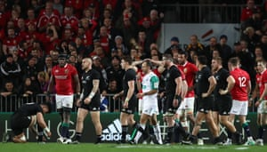 A muted response from the opposing players as referee Romain Poite blows the final whistle and the test series is drawn.