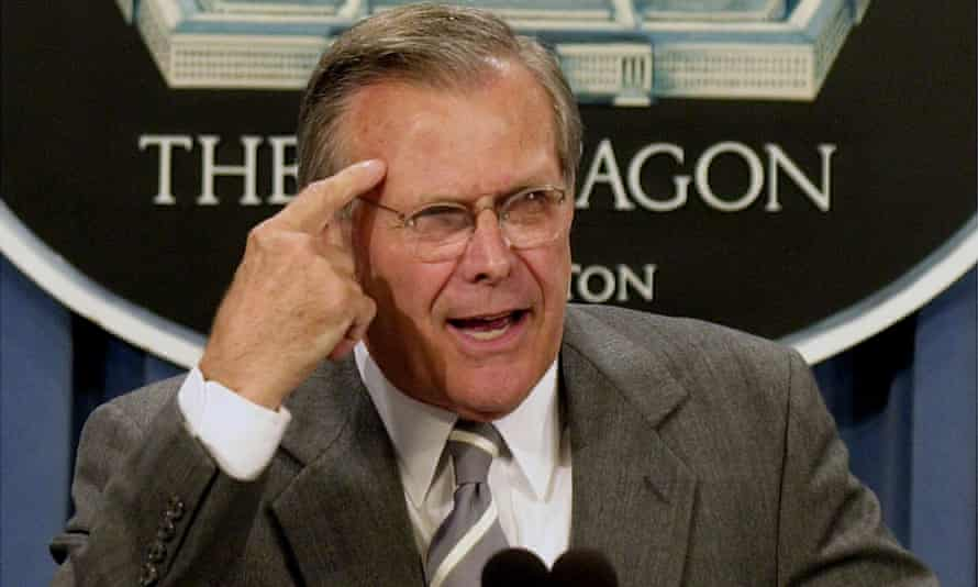 Donald Rumsfeld giving a press conference about revamping space defence policies at the Pentagon in 2001.