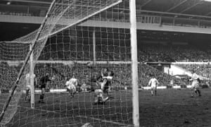 Glyn Pardoe scores Manchester City's winning goal against West Bromwich Albion in the 1970 League Cup final at Wembley