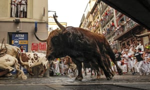 The fourth running of the bulls at the San Fermín festival in Pamplona on Sunday.