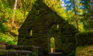 Hiking in Forest Park west of downtown Portland Oregon this abandonded stone structure was built in 1950 to house restrooms and ranger station for theRDCRER Hiking in Forest Park west of downtown Portland Oregon this abandonded stone structure was built in 1950 to house restrooms and ranger station for the