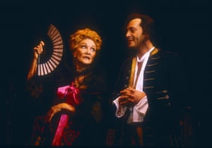 Sheila Hancock (Mrs Squeezum) and Ivan Kaye (Ramble) in Lock Up Your Daughters, Chichester Festival theatre, 1996